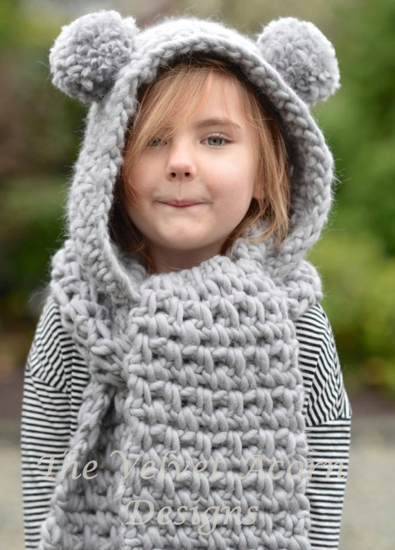Crochet Pattern The Zolta Hooded Scarf 1218 Months Toddler Etsy