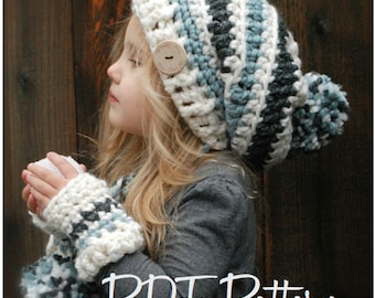 Crochet PATTERN-The Feyona Cap/Mitt Set (Toddler, Child and Adult sizes)