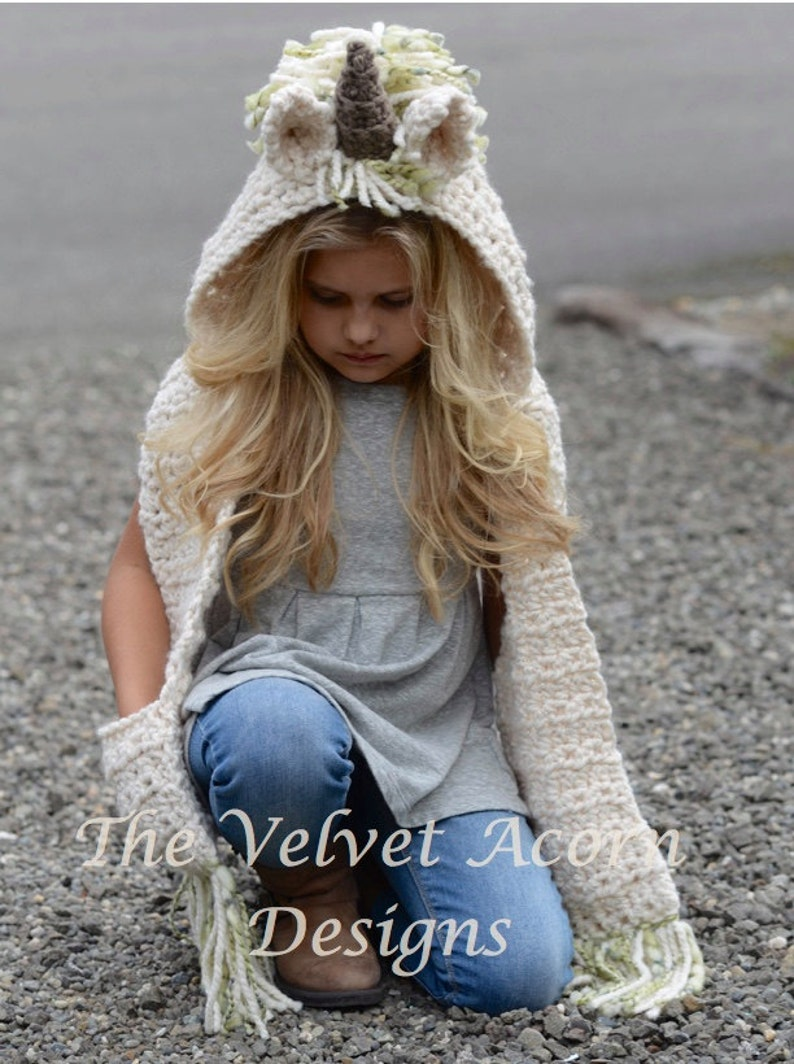 Crochet PATTERN-The Ulyne Unicorn Hooded Scarf 12/18 months image 0