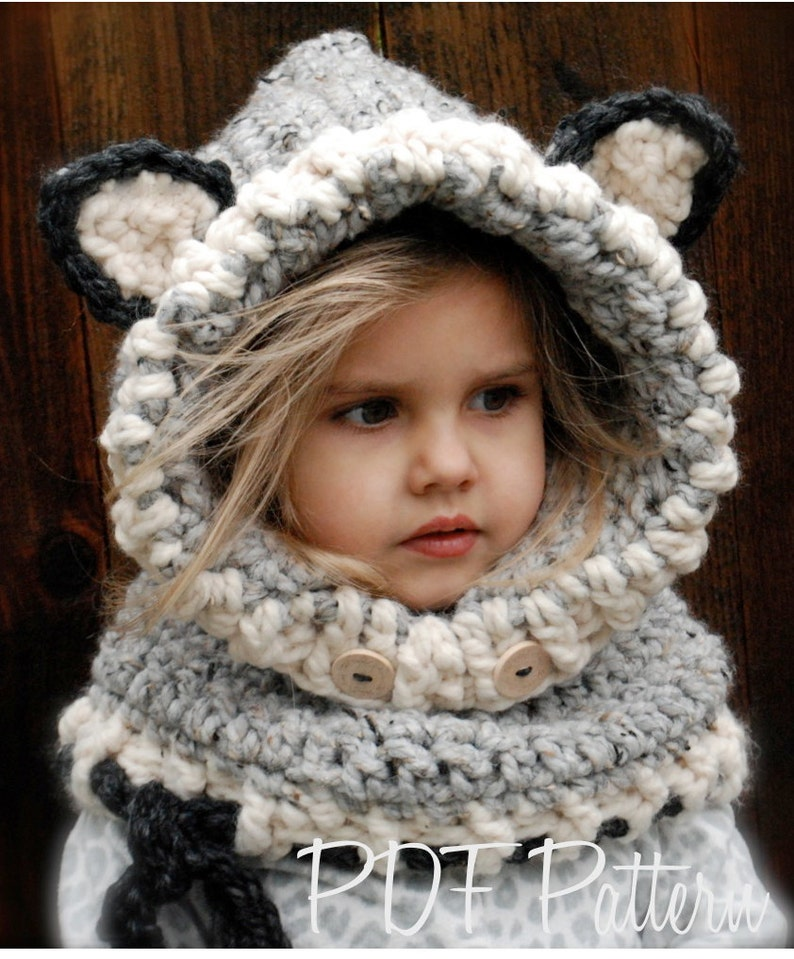 CROCHET PATTERN - Woodlynn Wolf Cowl (12/18 months, Toddler, Child, Adult sizes) photo