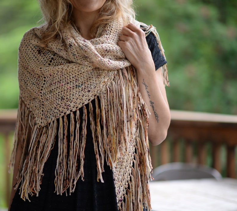 CROCHET PATTERN-For Keeps Shawl small large sizes image 0