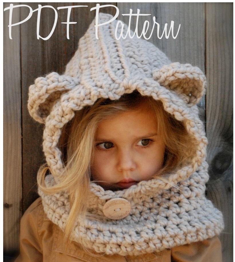 Crochet Pattern Baylie Bear Cowl 36 Months 612 Months Etsy