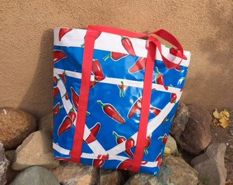 Large Lined Oilcloth TOTE Bag in Southwestern CHILE pattern