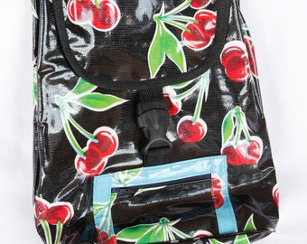91f1f7504b Oilcloth Backpack in Cherry Pattern