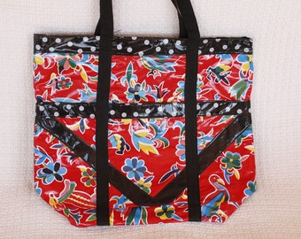 Lined Oilcloth Tote in Red and Black