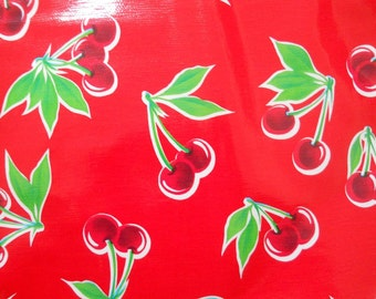 """60"""" Round Red CHERRIES OILCLOTH Tablecloth"""