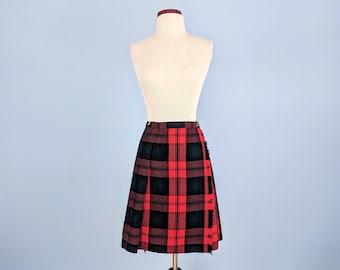 1b0693e88 Vintage 60s Catholic School Girl Uniform Skirt, 1960s Red and Green Plaid  Tartan Skirt