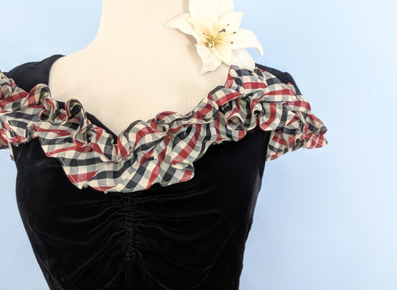 Vintage 30s Velvet and Taffeta Party Dress Ballgo… - image 6