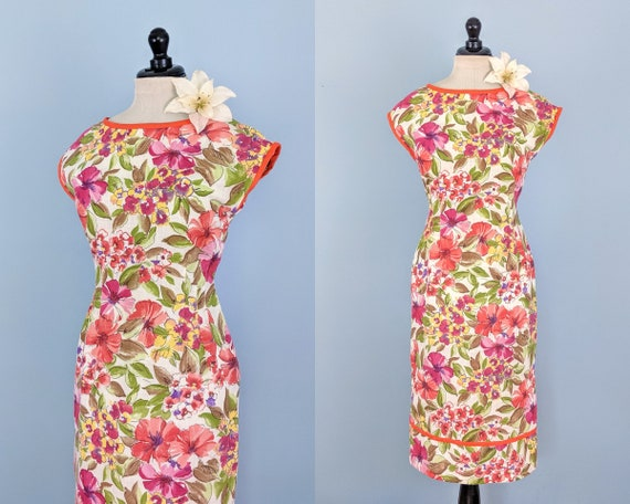 Vintage 60s Floral Cotton Wiggle Dress, 1960s Hour