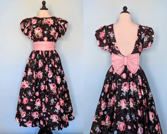 Vintage 80s Floral Cotton Party Dress, Vintage 198