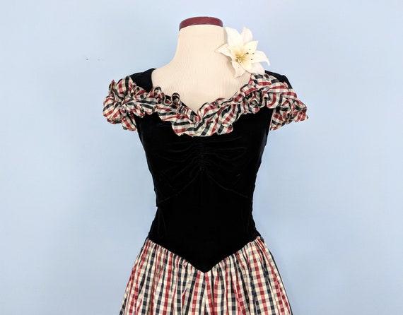 Vintage 30s Velvet and Taffeta Party Dress Ballgo… - image 7