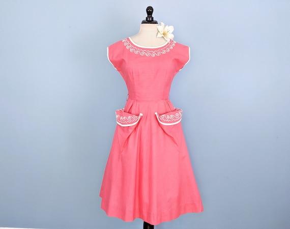 Vintage 40s Soutache Trim Pink Cotton Day Dress, V