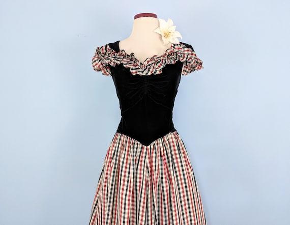 Vintage 30s Velvet and Taffeta Party Dress Ballgo… - image 3