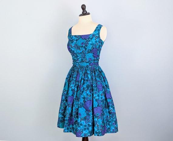 Vintage 50s Blue Floral Sundress, 1950s Full Skirt