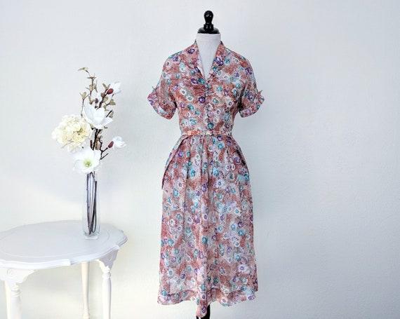 Vintage 1940s Floral Sundress, Vintage 40s Button