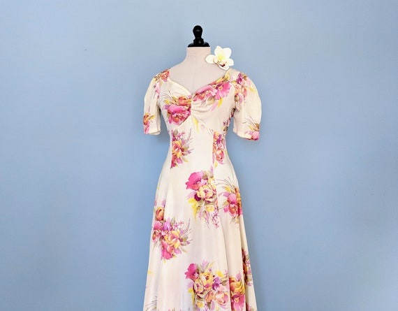 Vintage 30s Floral Rayon Day Dress, 1930s Maxi Sun