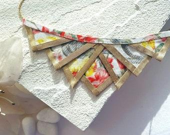Floral Fiber Bib Necklace