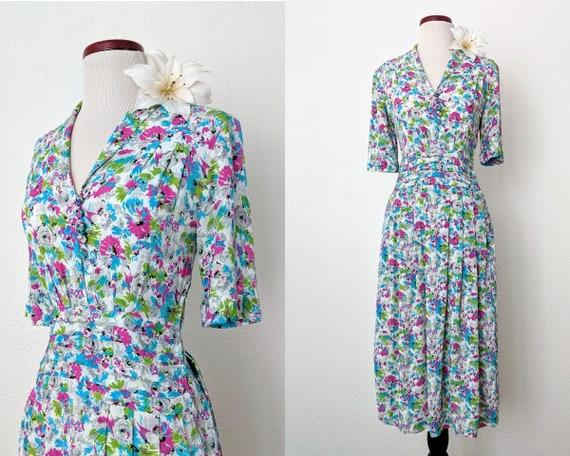 Vintage 40s Rayon Dress, 1940s Flowy Summer Dress,