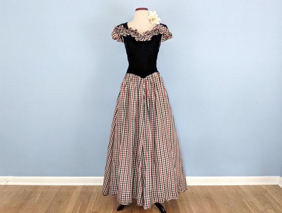Vintage 30s Velvet and Taffeta Party Dress Ballgo… - image 2