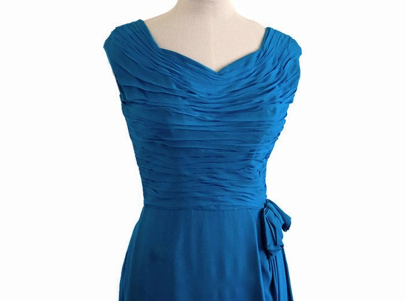 Vintage 50s Draped Hourglass Dress, 50s cocktail … - image 2