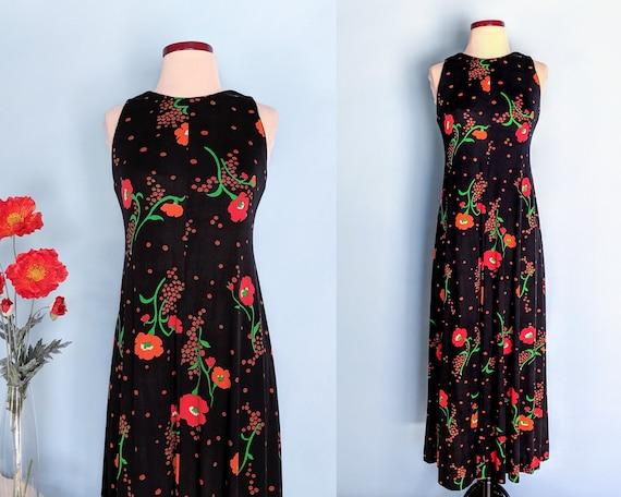 Vintage 70s Floral Poppy Print Boho Maxi Dress, 19