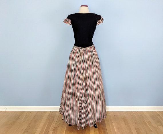 Vintage 30s Velvet and Taffeta Party Dress Ballgo… - image 5