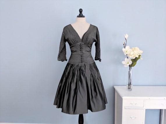 Vintage 50s Slate Gray Taffeta Gown, 1950s Full Sk