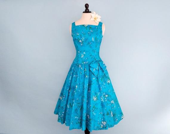 Vintage 1950s Floral Cotton Sundress, Vintage 50s