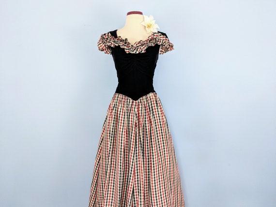 Vintage 30s Velvet and Taffeta Party Dress Ballgo… - image 4