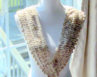 Scarf, Beige and Brown Scarf, Designer Scarf, Fashion Scarf, Gift For Her