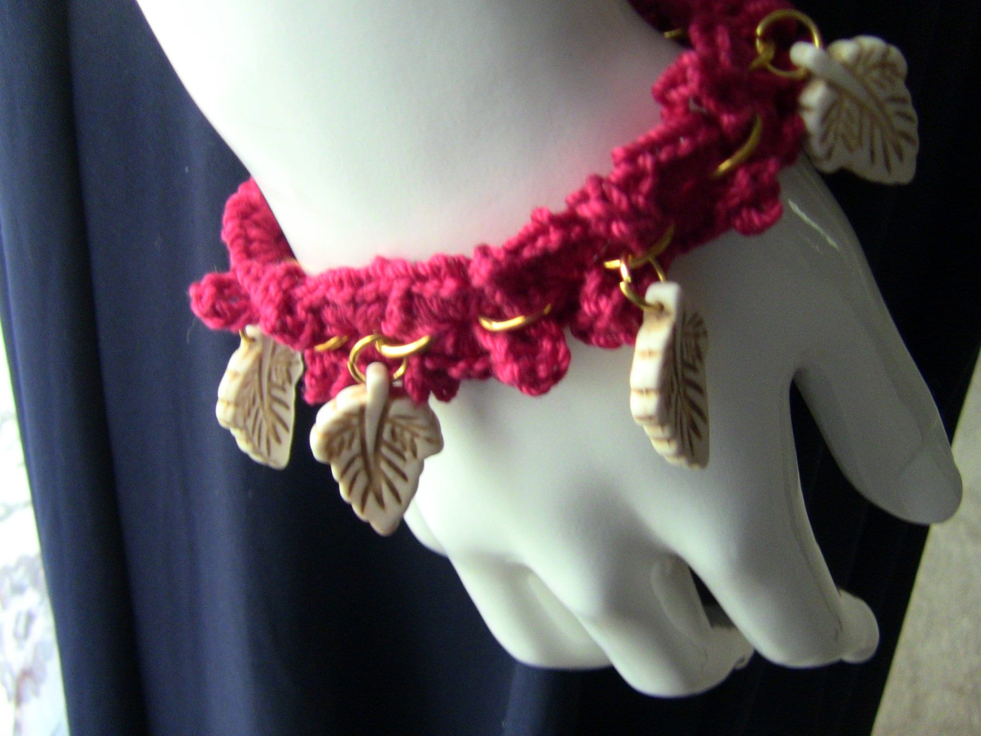 Bracelet Crocheted Bracelet Gift For Her Red Crocheted Bracelet Leaf Charm Bracelet Womens Bracelet Teen Girls Bracelet