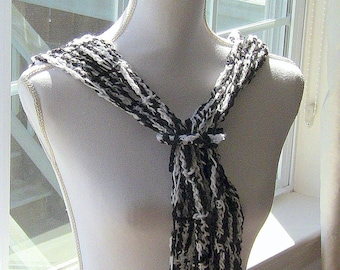 Scarf, Black and White Scarf, All Season Scarf, Black & White Scarf, Gift, Gift For Her