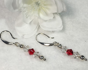 Sterling Silver and Swarovski Crystal Earrings - Red & Clear, Handcrafted - NEW (54)
