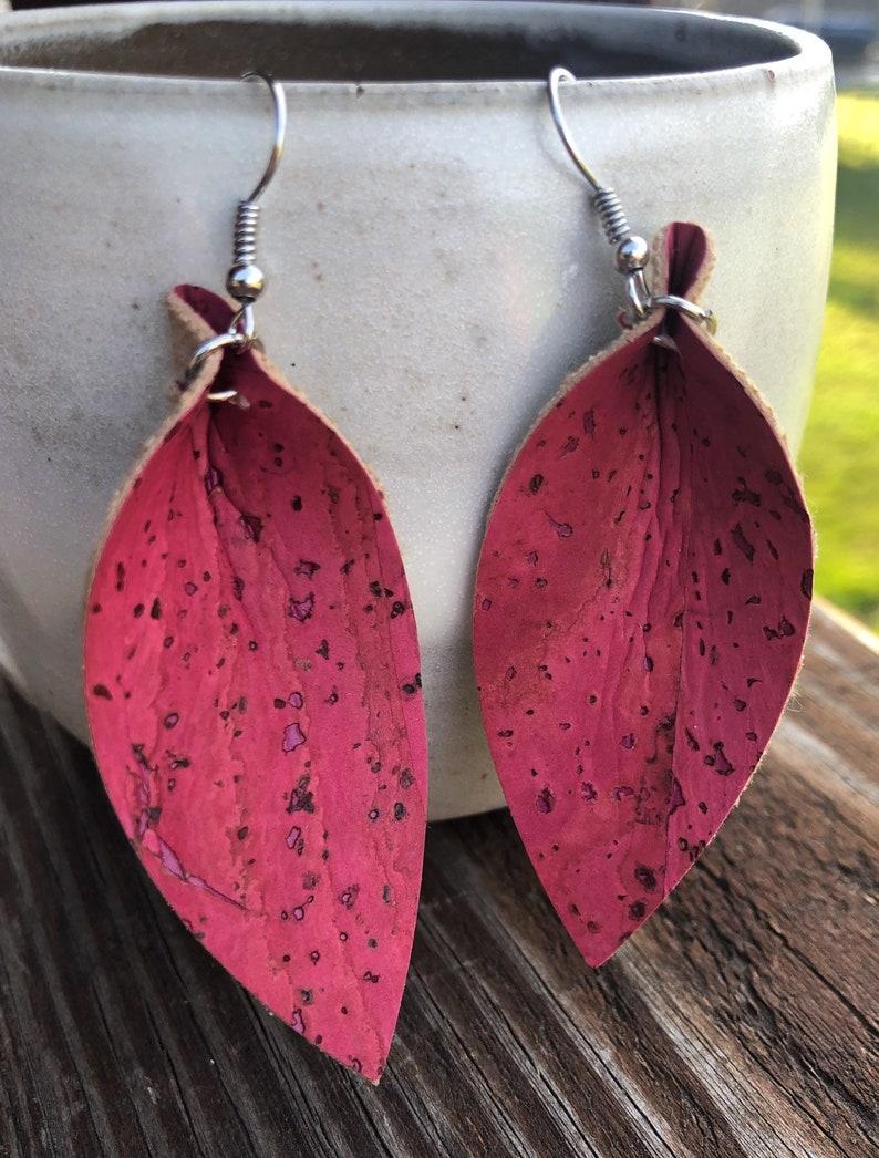 Pink Cork Leaf Earrings-Joanna Gaines Inspired Earrings-Large image 0