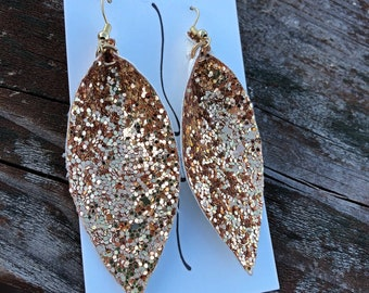 Glitter Leaf Earrings-Gold Dangle Earrings-Magnolia Inspired Leaf Earrings-Joanna Gaines Inspired Leaf Earrings