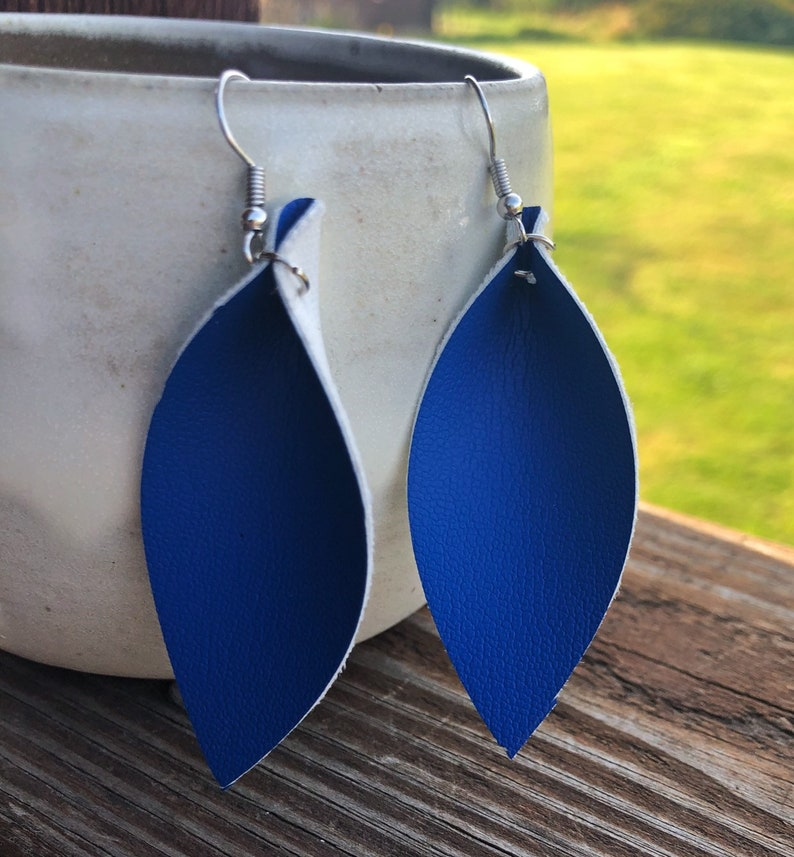 Royal Blue Leather Leaf Earrings-Joanna Gaines Inspired image 0
