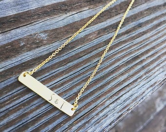 Name Bar Necklace - Dainty Gold Bar Necklace- Custom Handstamped Bar Necklace -Name Necklace