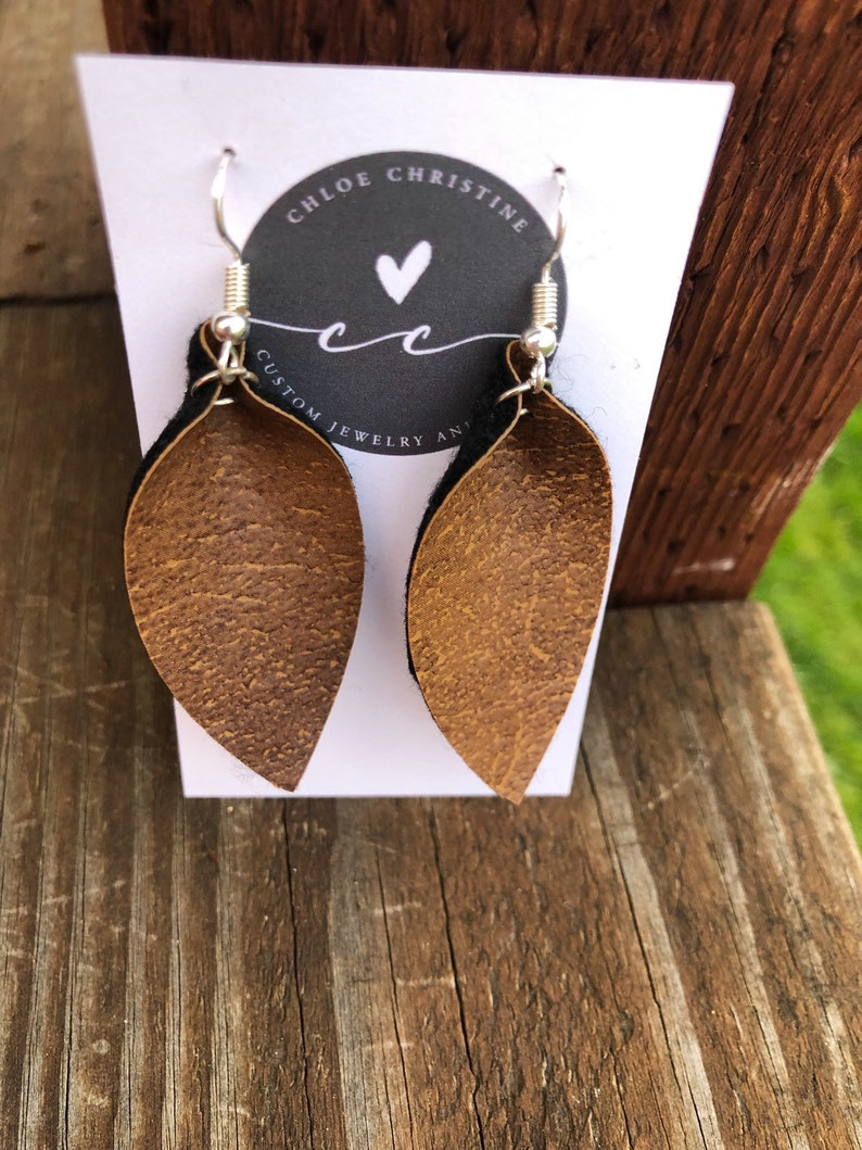 Saddle Brown Leather Leaf Earrings-Joanna Gaines image 0