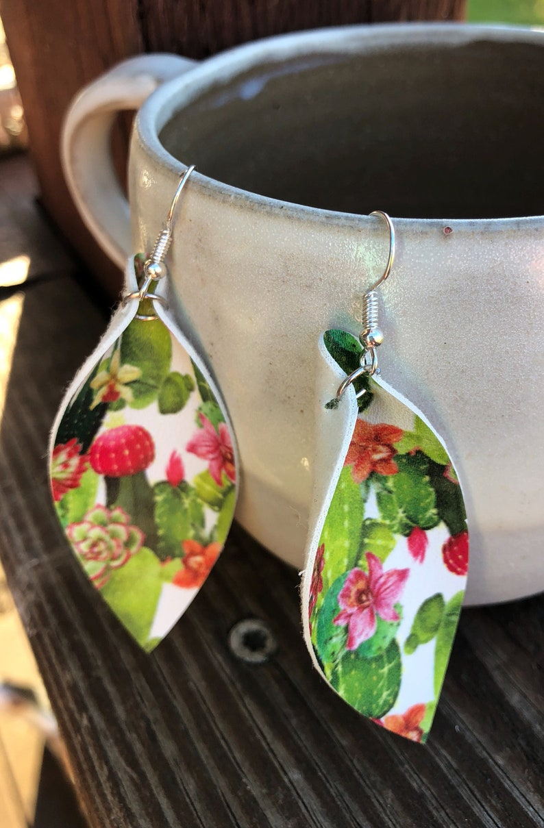 Watercolor Cactus Leather Leaf Earrings-Joanna Gaines Inspired image 0
