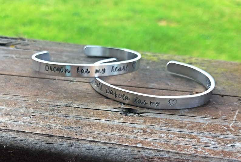 Has My Heart State Cuff Handstamped Bracelet-State image 0