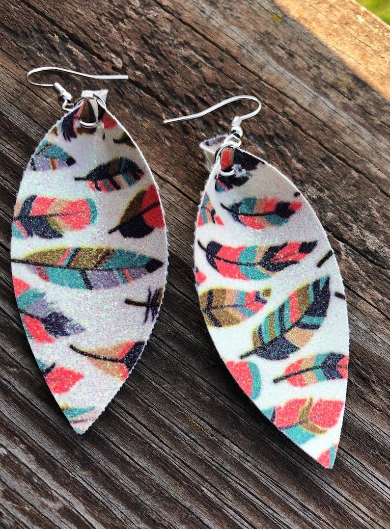 Feather Glitter Leaf Earrings-Joanna Gaines Inspired-Boho image 0