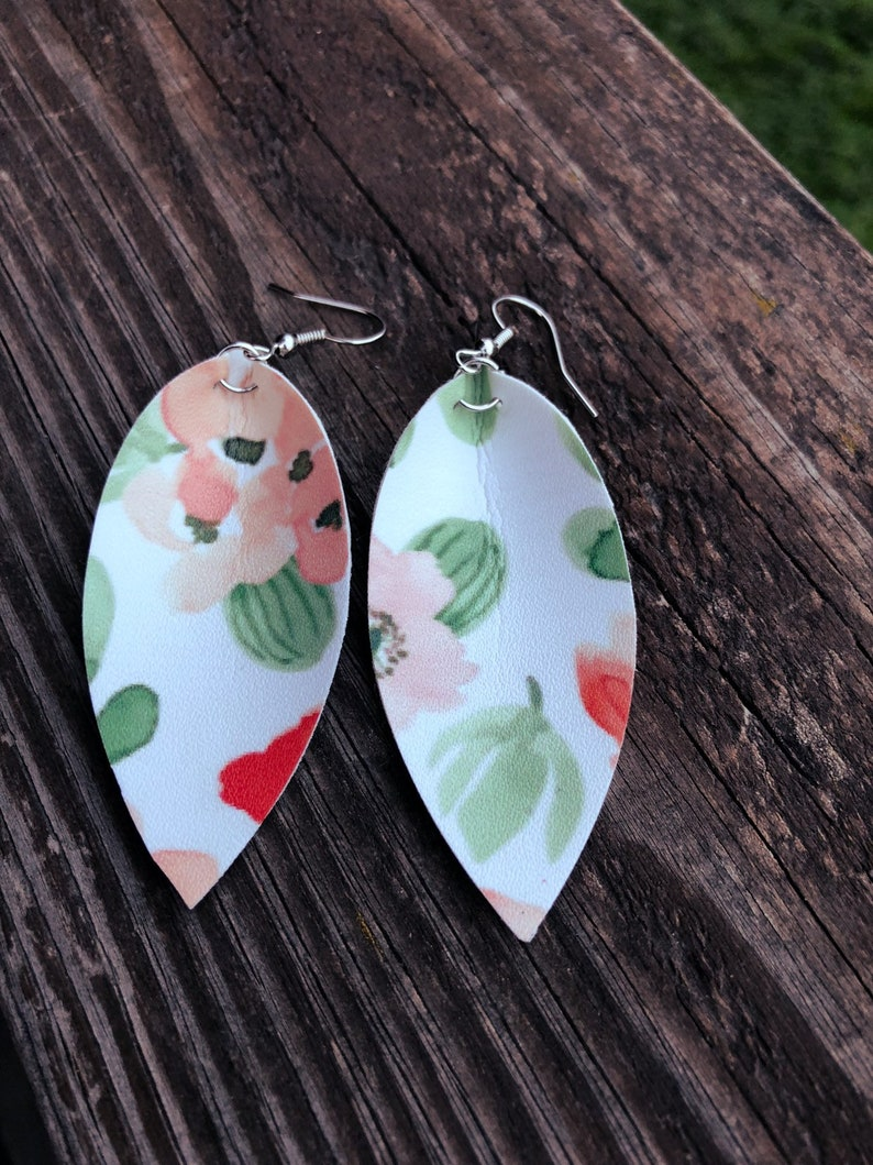 Peach Floral Leather Leaf Earrings-Joanna Gaines Inspired image 0