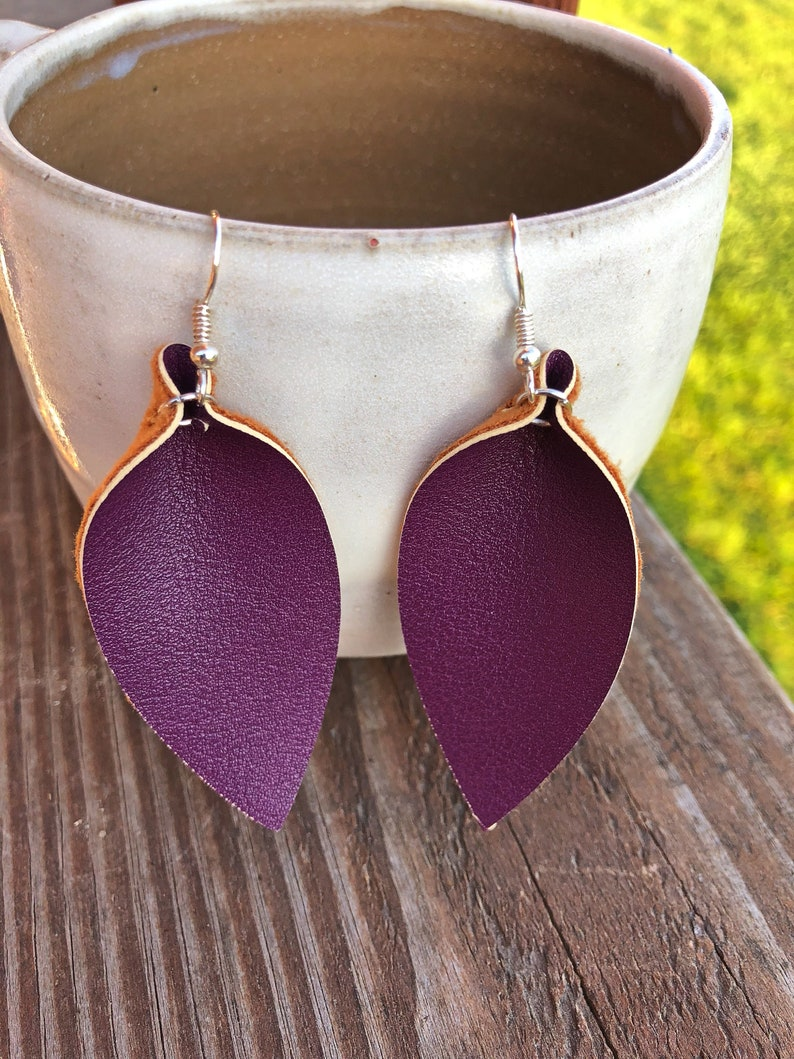 Deep Plum Leather Leaf Earrings-Joanna Gaines Inspired-Large image 0