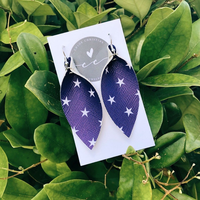 Blue Stars Leather Leaf Earrings-Joanna Gaines Inspired image 0