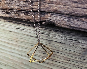 Delicate Minimalist Necklace-Gold and Silver Minimalist Necklace- Gold Necklace- Square and Triangle Necklace