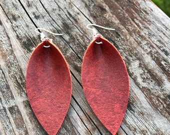 Red Leather Leaf Earrings-Joanna Gaines Inspired Earrings-Large Leaf Earrings-Lightweight Leather Earrings