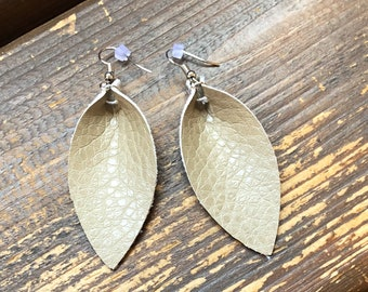 Beige Leather Leaf Earrings-Joanna Gaines Inspired Earrings-Large Leaf Earrings-Leather Dangle Earrings