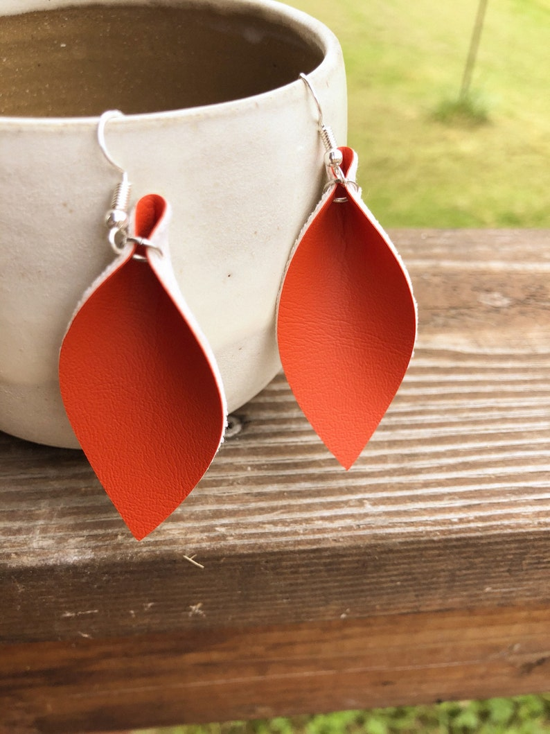 Pumpkin Orange Leather Leaf Earrings-Joanna Gaines image 0