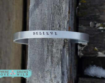 Personalized Cuff Bracelet-You Choose Wording - Handstamped Bracelet-Custom Cuff