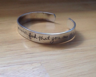 HandScribed™ Custom Handwriting Cuff Bracelet- Handwritten-Custom Jewelry-Handwriting Bracelet-Actual Handwriting Jewelry